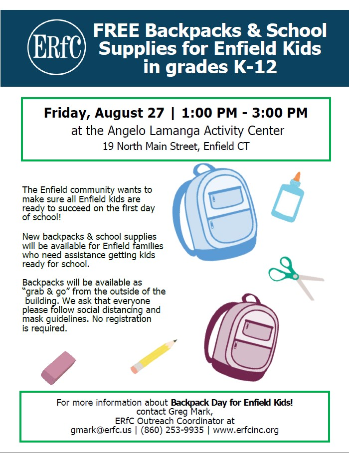 Backpack Day for Enfield Kids! - August 27